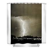 Bo Trek Lightning Bw Fine Art Poster Print Shower Curtain