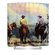 Board Meeting  Cowboy Painting Shower Curtain
