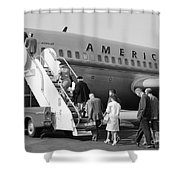 Boarding American Airlines Shower Curtain