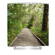 Boardwalk Along Hiking Trail At Fort Clatsop Shower Curtain