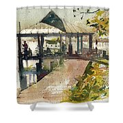 Boardwalk Sarasota Ink And Wash Shower Curtain