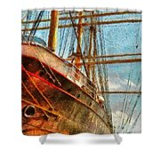 Boat - Ny - South Street Seaport - Peking Shower Curtain by Mike Savad