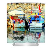 Happy And Colorful Boats In Their Own Company  Shower Curtain by Hilde Widerberg