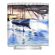 Boat And The River Shower Curtain