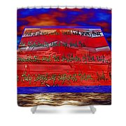 Boat As Art With Text Shower Curtain