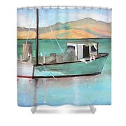 Boat At China Camp State Park Shower Curtain