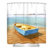 Boat At Low Tide Shower Curtain