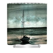 Boat At Sea Shower Curtain