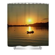 Boat At Sunset Glow Shower Curtain