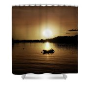 Boat At Sunset Glow - Sepia  Shower Curtain