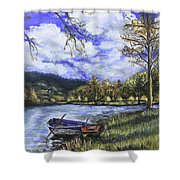 Boat By The Lake Shower Curtain