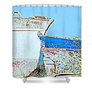 Old Boats Hugging And Kissing Forever  Shower Curtain by Hilde Widerberg