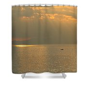 Boat Crossing Sagami Bay Shower Curtain
