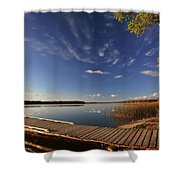 Boat Dock And Autumn Trees Along A Saskatchewan Lake Shower Curtain