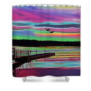 Boat Dock Shower Curtain
