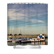 Boat Dock On The Bay Shower Curtain