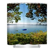 Boat Framed By Trees And Foliage Shower Curtain