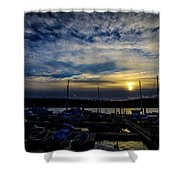 Boat Harbor At Sunset Shower Curtain