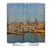 Boat Harbor Province Town Shower Curtain