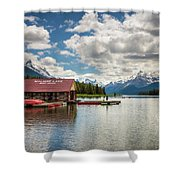 Boat House And Canoes On A Jetty At Maligne Lake In Canada Shower Curtain