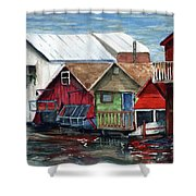 Boat Houses On The Lake Shower Curtain