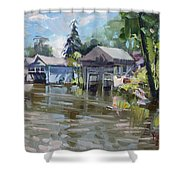 Boat Houses Shower Curtain