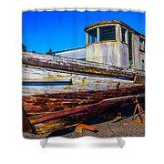 Boat In Dry Dock Shower Curtain