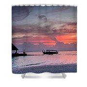 Boat Sunset Shower Curtain