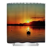 Boat In Sunset Glow Shower Curtain