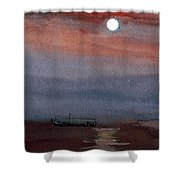 Boat In The Moon Shower Curtain