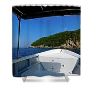 Boat In The Ocean Shower Curtain