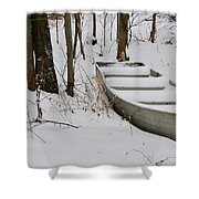 Boat In Winter Shower Curtain