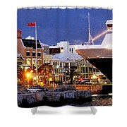 Boat Is In On Front Street Shower Curtain