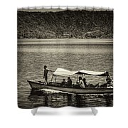 Boat - Lago De Coatepeque, El Salvador Shower Curtain