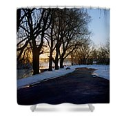Boat Launch In Winter Shower Curtain