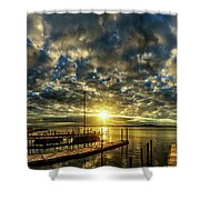 Boat Launch Sunrise Shower Curtain