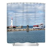 Boat Leaving Shower Curtain