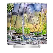 Boat Marina Shower Curtain