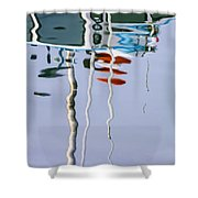 Boat Mast Water Reflection Shower Curtain