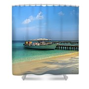 Boat On A Tropical Island Shower Curtain