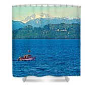 Boat On Llanquihue Lake From Puerto Varas-chile Shower Curtain