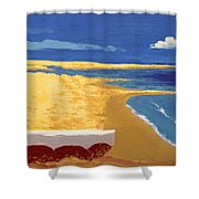 Boat On The Sand Beach Shower Curtain