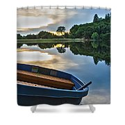 Boat On The Shore Of A Lake  Shower Curtain