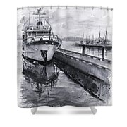 Boat On Waterfront Marina Kirkland Washington Shower Curtain