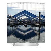 Boat Reflection On Lake Coeur D'alene Shower Curtain