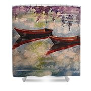 Boat Reflections Watercolor Painting Shower Curtain