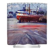 Boat Reparing Shower Curtain