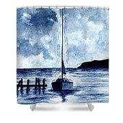 Boat Scene - Blue Sky Shower Curtain
