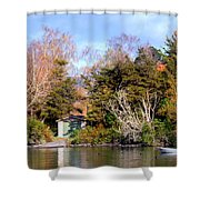 Boat Shed On The Waikato River Shower Curtain