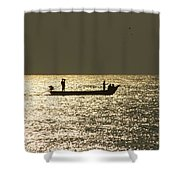 Boat Silhouette In Sunrise At Marina Beach, Chennai Shower Curtain